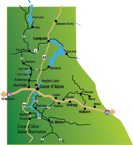 Map Of Northern Idaho North Idaho Communities & Cities! | FYI North Idaho Map Of Northern Idaho